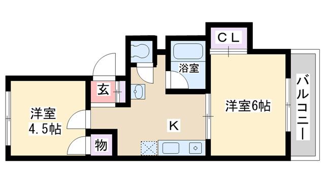 物件番号: 1068100947 ホワイトマンション  大阪市淀川区十三東3丁目 2DK マンション 間取り図