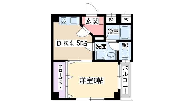 物件番号: 1068101755 新大阪和光 大阪市東淀川区東中島1丁目 1DK マンション 間取り図