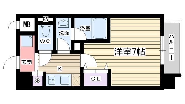 物件番号: 1068103347 新大阪南グランドマンション 大阪市淀川区西中島2丁目 1K マンション 間取り図