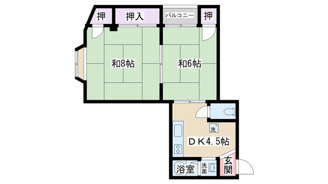 物件番号: 1068104326 林ハイツ  大阪市淀川区十三東3丁目 2DK マンション 間取り図