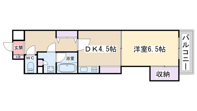 物件番号: 1068106644 AuroraCourt木川(旧:NLC木川) 大阪市淀川区木川西4丁目 1DK マンション 間取り図