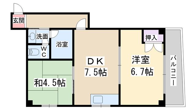 物件番号: 1068106792 グレイスフルUY  大阪市淀川区十八条3丁目 2DK マンション 間取り図