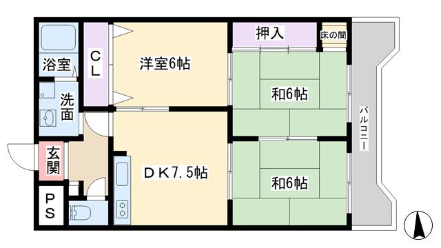 物件番号: 1068109294 ライトハイツ 大阪市淀川区三国本町3丁目 3DK マンション 間取り図