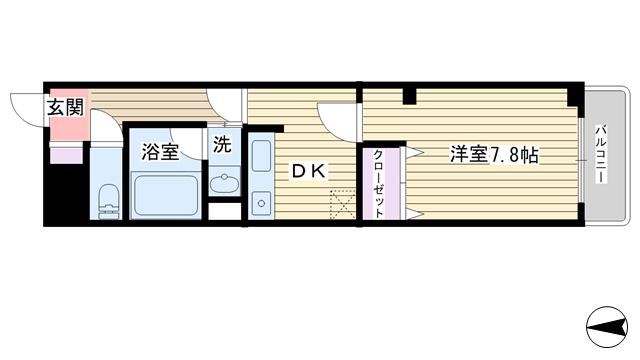 物件番号: 1068109722 アミティエサンユキガワ 大阪市淀川区木川西4丁目 1DK マンション 間取り図