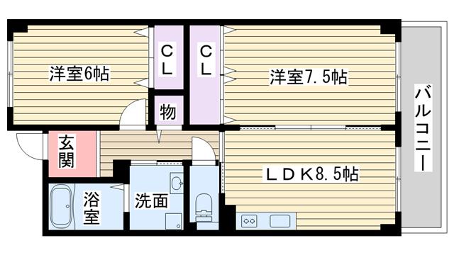 物件番号: 1068113592 SUNROYAL新大阪  大阪市東淀川区西淡路5丁目 2LDK マンション 間取り図