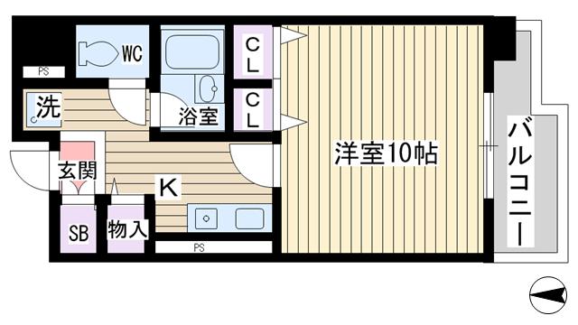 物件番号: 1068113866 シャルマン新大阪 大阪市東淀川区東中島3丁目 1K マンション 間取り図