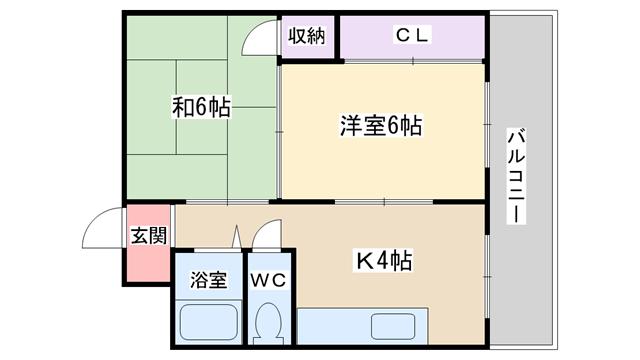 物件番号: 1068114335 マンションピアファイブ  大阪市淀川区野中南2丁目 2DK マンション 間取り図