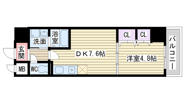 物件番号: 1068114494 パークフラッツ新大阪 大阪市淀川区宮原2丁目 1DK マンション 間取り図