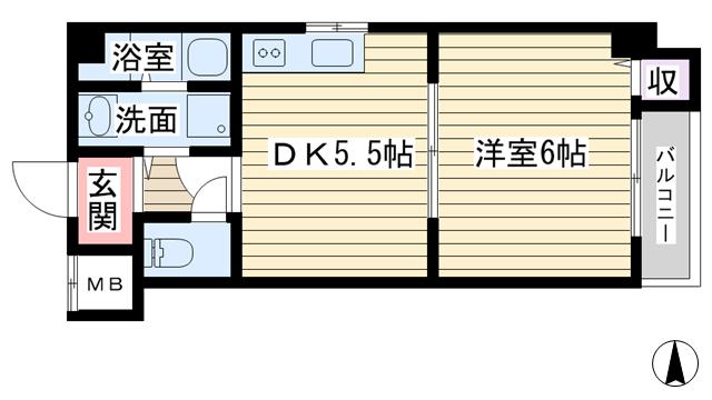 物件番号: 1068114978 ペットマンション冨士 大阪市淀川区新高3丁目 1DK マンション 間取り図