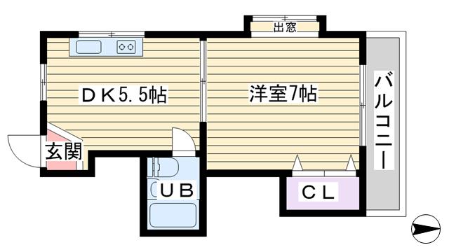 物件番号: 1068115941 サンハイツ十三 大阪市淀川区十三東5丁目 1DK マンション 間取り図
