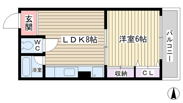 物件番号: 1068121422 羽衣マンション  大阪市東淀川区東中島2丁目 1LDK マンション 間取り図