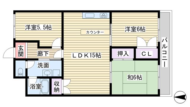 物件番号: 1068121940 サンハイツ中村 大阪市淀川区東三国6丁目 3LDK マンション 間取り図