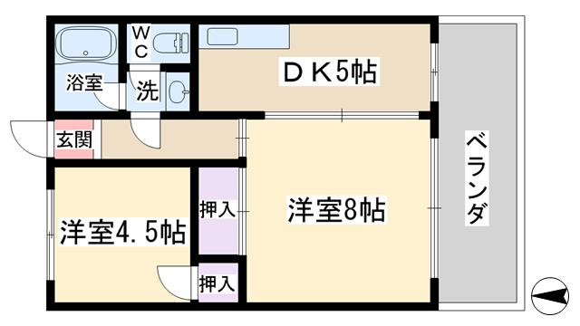 物件番号: 1068124786 岩下マンション 大阪市東淀川区東中島5丁目 2DK マンション 間取り図