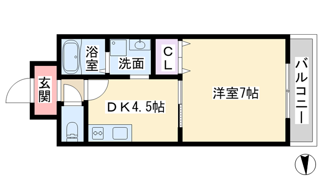 物件番号: 1068125112 シェルマンド淡路  大阪市東淀川区淡路4丁目 1DK マンション 間取り図
