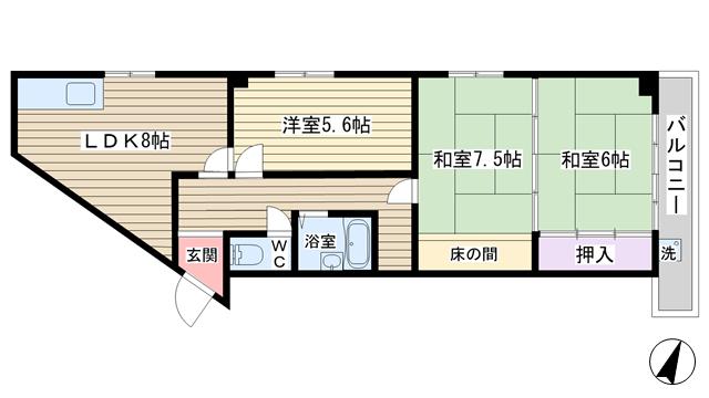 物件番号: 1068125141 コーポフェニックス 大阪市東淀川区西淡路1丁目 3LDK マンション 間取り図