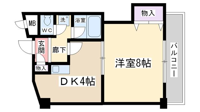 物件番号: 1068125347 サウスフラット 大阪市東淀川区柴島1丁目 1DK マンション 間取り図
