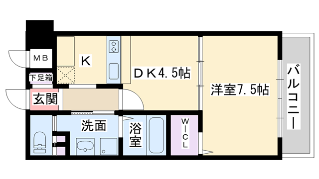 物件番号: 1068129035 エリジオン 大阪市淀川区東三国5丁目 1DK マンション 間取り図