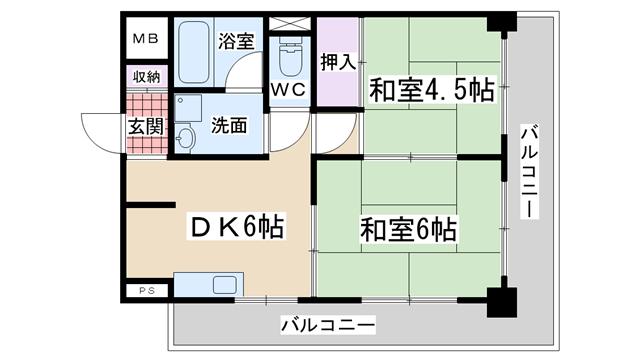 物件番号: 1068129166 シャルムビラ土井  大阪市東淀川区西淡路5丁目 2DK マンション 間取り図