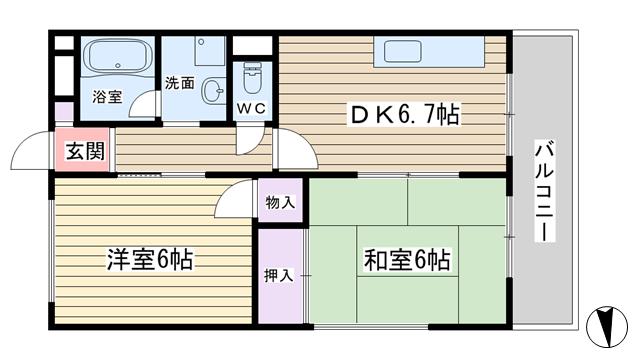 物件番号: 1068129314 中井ハイツ 大阪市東淀川区東中島5丁目 2LDK マンション 間取り図