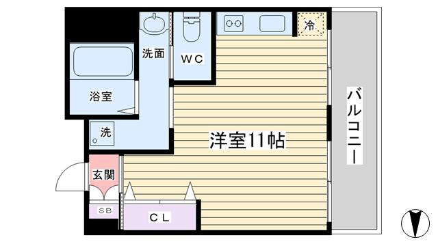 物件番号: 1068129743 シンコーハイツ  大阪市淀川区木川西3丁目 1LDK マンション 間取り図