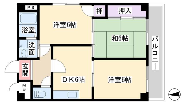物件番号: 1068130680 クインテットハイツ 大阪市淀川区野中北2丁目 3DK マンション 間取り図