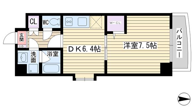 物件番号: 1068132346 アクアスイート新大阪  大阪市淀川区西中島2丁目 1DK マンション 間取り図