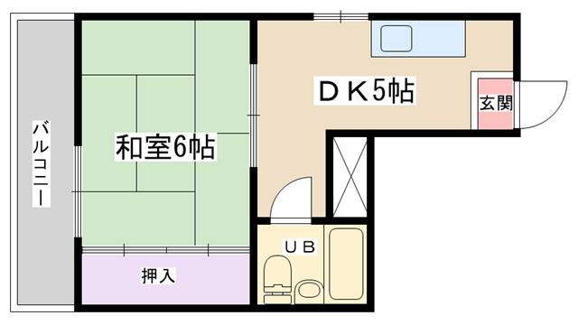 物件番号: 1068132858 ハイツまこと 大阪市淀川区東三国1丁目 1DK マンション 間取り図