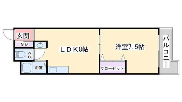 物件番号: 1068134256 クレスト豊新 大阪市東淀川区豊新1丁目 1LDK マンション 間取り図