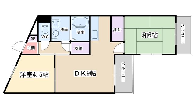 物件番号: 1068134374 イスズハイツベル十三  大阪市淀川区十三東3丁目 2DK マンション 間取り図