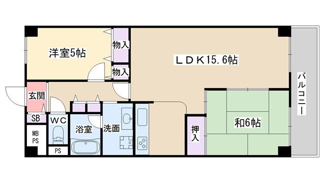 物件番号: 1068134376 新高レックスマンション 大阪市淀川区新高1丁目 2LDK マンション 間取り図