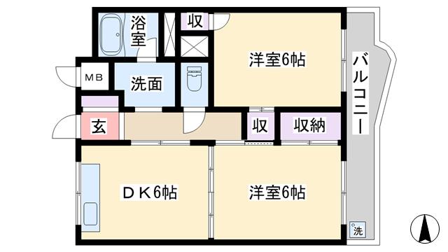 物件番号: 1068134434 新高マンション 大阪市淀川区新高6丁目 2DK マンション 間取り図