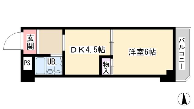 物件番号: 1068134488 ライトハイツ  大阪市淀川区三国本町3丁目 1DK マンション 間取り図