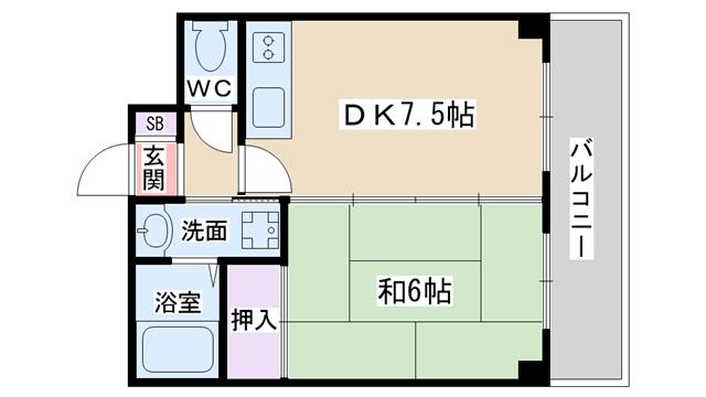 物件番号: 1068134590 第7浦濱ビレッジ  大阪市淀川区西三国4丁目 1DK マンション 間取り図