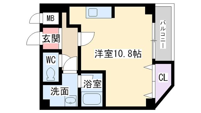 物件番号: 1068134880 パークハウスヒノ  大阪市淀川区十三東4丁目 1R マンション 間取り図