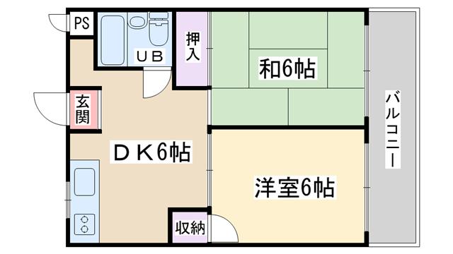 物件番号: 1068134904 パークハイツ 大阪市東淀川区西淡路3丁目 1DK マンション 間取り図