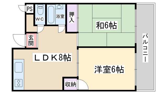 物件番号: 1068134906 パークハイツ  大阪市東淀川区西淡路3丁目 1DK マンション 間取り図