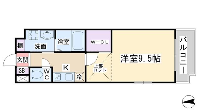 物件番号: 1068135305 govern make 豊中市少路1丁目 1K マンション 間取り図