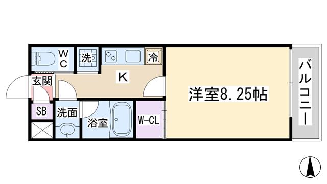 物件番号: 1068135310 ガレリア大阪空港Ⅱ 豊中市蛍池西町2丁目 1K ハイツ 間取り図