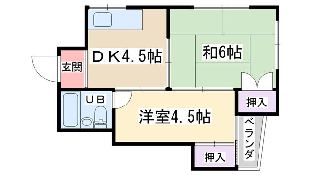 物件番号: 1068135569 シャンティーマツモト 大阪市淀川区十八条3丁目 2DK マンション 間取り図