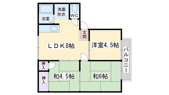 物件番号: 1068135707 プルミエールみすたに  大阪市淀川区十三元今里2丁目 3LDK アパート 間取り図