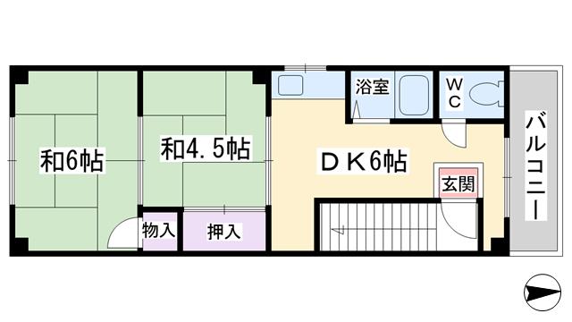 物件番号: 1068135726 ハイツヤクノ 大阪市淀川区田川2丁目 2DK マンション 間取り図