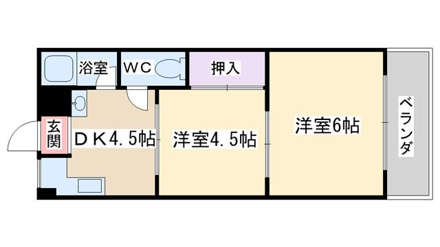 物件番号: 1068135838 サンシャインマンション 大阪市淀川区三国本町1丁目 2DK マンション 間取り図