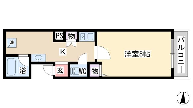 物件番号: 1068136597 ティーホームズ新大阪  大阪市東淀川区東中島2丁目 1K マンション 間取り図