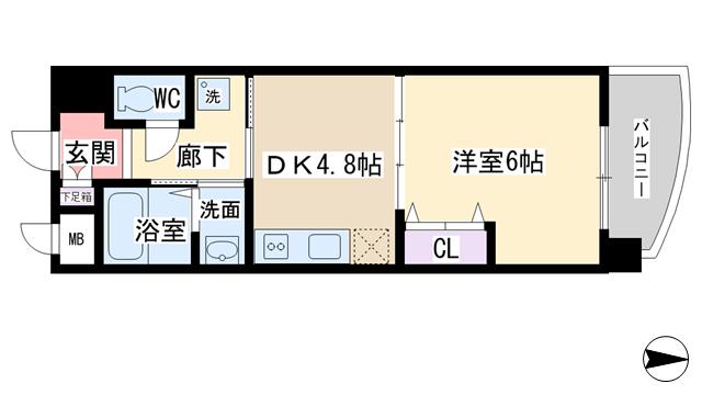 物件番号: 1068137039 グレース TM 大阪市淀川区十三東1丁目 1DK マンション 間取り図