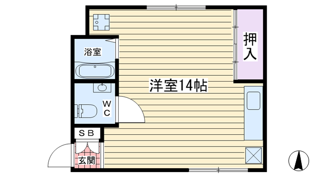 物件番号: 1068137339 チサンマンション第3新大阪  大阪市淀川区西中島5丁目 1R マンション 間取り図