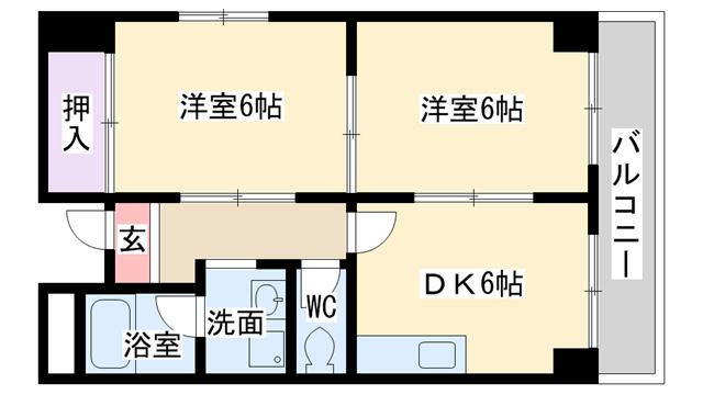物件番号: 1068137485 ハイムタイヨーⅡ  大阪市淀川区木川西4丁目 2DK マンション 間取り図